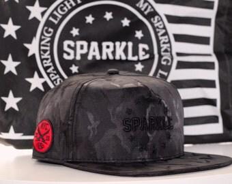 SPARKLE Black Camouflage Snapback Hat