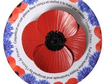 "Flower brooch poppy in bloom with cowhide leather."" poppy"""