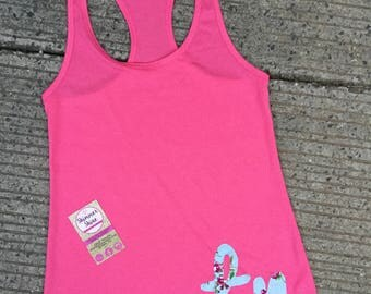 Tennessee Razor Back Tank, Pink razor back Tank top with floral 'tn', Pink Tennessee Tank