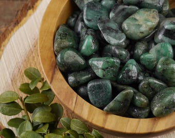 Two Small Tumbled EMERALD Stones - Pocket Stone, Healing Crystal, Raw Emerald Gemstones, Green Emerald Crystals, Tumbled Gemstone E0318
