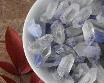 One XS DUMORTIERITE in QUARTZ Crystal Point - Blue Quartz Dumortierite Crystal, Dumortierite Quartz Point, Clear Quartz Crystal E0412