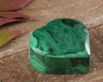 1.6 Inch MALACHITE Jewelry Box with Lid from Congo, Africa - AA Quality Malachite Box Jewelry Holder, Jewelry Organizer, Ring Dish 36375