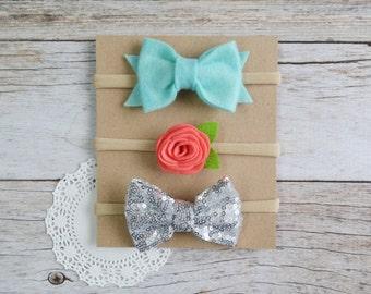 Set of 3 nylon headbands, Bow nylon headband, felt flower newborn headband, baby hair bow, baby shower gift set, nylon headband set
