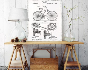 Bicycle Patent Print, Bicycle on Canvas, Printed on Canvas, Vintage Patent Print, Vintage Wall Decor, Vintage Wall Art