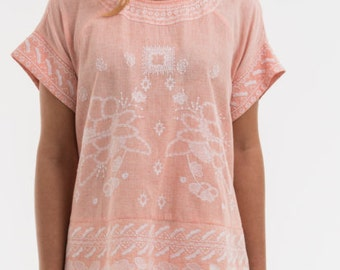 """Tee """"ROSALIE"""" 100% cotton khadi, embroidery, for her, woman's clothing"""