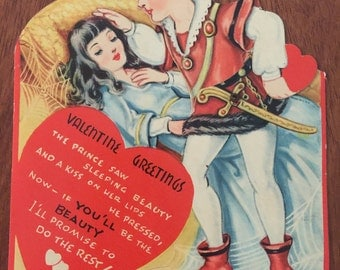 1930's Vintage Valentine Card Sleeping Beauty and the Prince Moveable Mechanical Good Condition