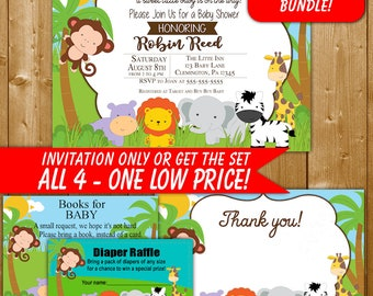 Safari Baby Shower Invitation, Diaper Raffle, Books for Baby, Safari Shower Invitations, Safari Shower, WD001O, Thank You Card
