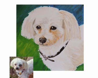 Custom Pet Portrait, Dog Lover Gift, Custom Pet Painting, Pet Canvas Art, Dog Portrait, Dog Art,