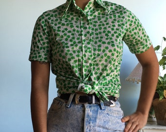 Vintage sz S parsley 70s button up top