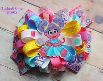 Sesame Street Hair Bow Abby Cadabby Bow Purple and Pink Bow Loopy Bow Elmo Hair Bow Loopy Bow Sesame Street Birthday Party Girls Hairbow