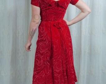 1950s /1960s Plush Red Velvet Patterned Party Dress