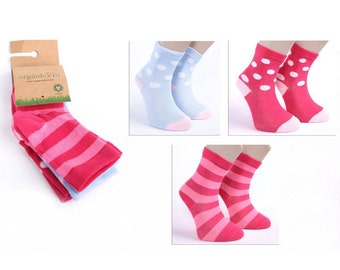 Organic cotton Sock Set of 3 piece for girls, cute girl socks- pink,red girl sock
