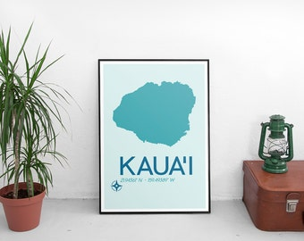 Kaua'i Poster Print - Kaua'i Hawaii Art Print, Minimalist Travel Poster, Hawaii Poster, Map Of Kaua'i, Art Print, Map Poster, Wall Art