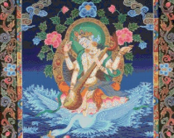 Hindu Goddess Saraswati Thangka Large Cross Stitch pattern - PDF - Instant Download!