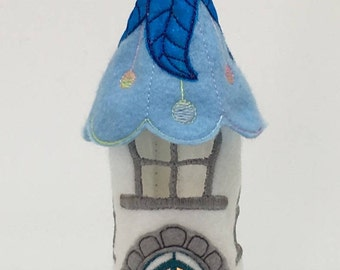 Blue & White Felt Tealight holder. Fairy house tealight holder. LED Tealight Holder. LED Candle Holder. 1 LED Tealight Included. Felt House.