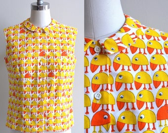 1960s Blouse / Odd Bird Blouse / Vintage 60s Novelty Print Blouse / Peter Pan Collar Top / Large