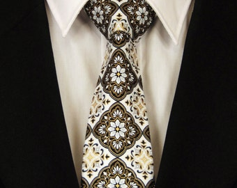 Mens Necktie, Mens Tie, Black White Necktie, Black White Tie, Black Necktie, Black Tie, White Necktie, White Tie, Floral Necktie, Floral Tie