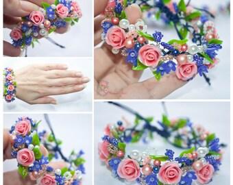 Rose bracelet, pink bracelet, floral, rose flower bracelet, pink roses, blue flowers, blue flower, polymer clay, pink and blue bracelet clay