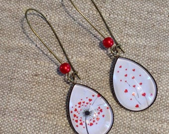 Earrings cabochon drops - lever - dandelion - hearts - red - love - mother's day
