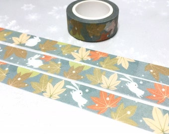 maple leaves Rabbit washi tape 7M fall leaves autumn scene white bunny masking tape rabbit decor running rabbit gold leaves sticker tape