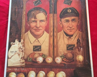 Vintage Baseball Poster of Christy Mathewson and Ty Cobb/MLB 1993/Near Mint Condition/In original factory seal/Fathers Day