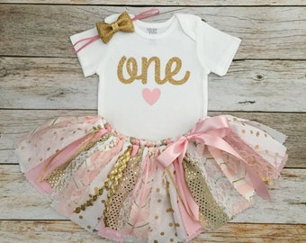Pink and Gold Sparkly Birthday Outfit with Gold Bow Headband, Pink and Gold Fabric Tutu, Baby Girl Pink and Gold First Birthday Outfit