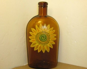 Big Yellow Flower on Old Honey Amber Strap Flask