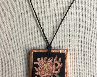Handmade chrysanthemum necklace, Orange pendant necklace, Gift for women, Miniature flower painting, Nature art, Acrylic painting
