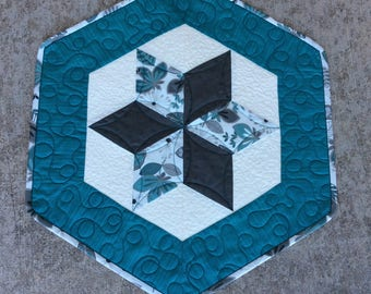 Small Custom Quilted Hexagon Table Topper, Mini Quilt, Turquoise Gray Decor