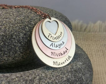 Mother's Necklace, Mom Jewelry, Kids Name Necklace, Name Necklace, Kids Necklace, Custom Stamped Jewelry, Metalwork Jewelry, Mothers Jewelry