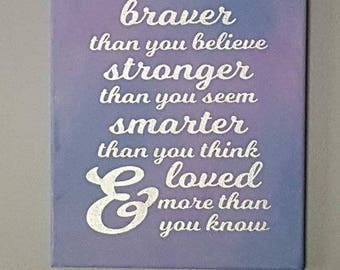 Motivational Canvas Art, Loved more than you know, Daughter Gift, Mother Gift, Canvas Art