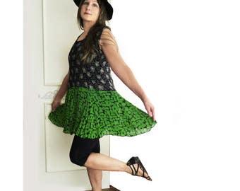 Drop waist tunic, mini dress, Upcycled clothing, black, green, rayon, mixed print, size large, Vintage Starina dress, ooak artsy tunic top