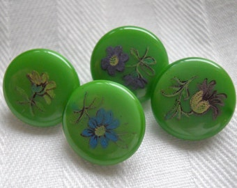 Vintage green glass with floral stencil buttons~ Set of 4 at 1/2 inch
