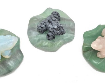 Lot Of 3 Frog On Lily Pad Gemstone Statue Opalite Snowflake Obsidian Quartz F164