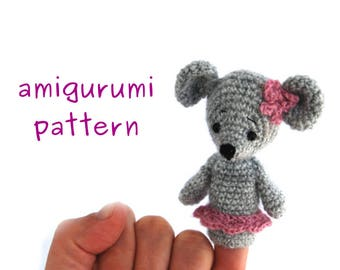 mouse finger puppet pattern, crochet mouse puppet, amigurumi mouse, gift for toddler, how to crochet mouse, ballerina mouse puppet