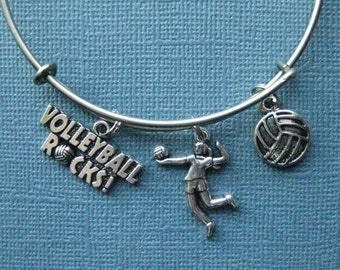 Volleyball Bangle - Volleyball Charm Bracelet - Volleyball Jewelry - Volleyball Mom - Volleyball - Charm Bracelet - Bangle -- B146
