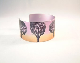 Winter tree anodised aluminium cuff bracelet