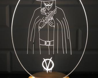 3D V For Vandetta Lamp Design