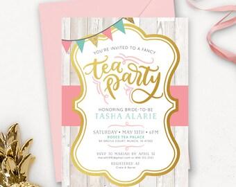 Rustic Floral Bridal Shower Invitation / Tea Party Bridal Shower Invitation Printable / Tea Party Invitations / Wedding Shower Invitation