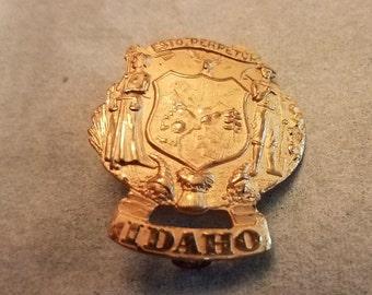 Antique Idaho State Seal Hat Badge