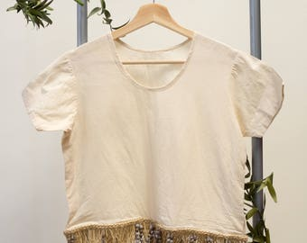 Beaded Shell & Straw Island Top / S