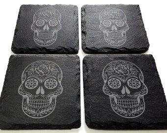 Sugar Skull Slate Engraved Coaster Set