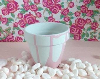 Duck Egg Green and Pink Plant/Flower Pot (other colours and designs available)