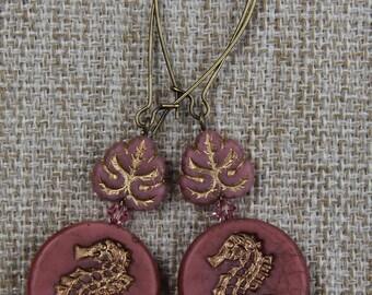 Unique Sea Horse Leaf Czech Glass Earrings Swarovski