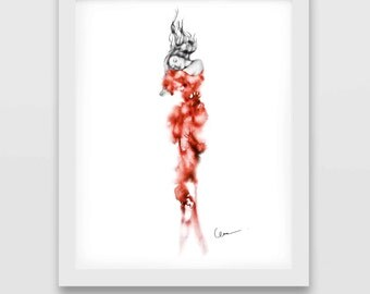 Undersea, Print from original watercolor and mixed media fashion illustration by Cara