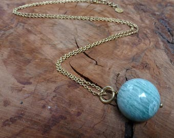 Necklace Ball Green-Grey Amazonite   on a Brass Chain/Gifts for her/Amazonite Necklace/Amazonite Gift/Fair Trade/Hand made/