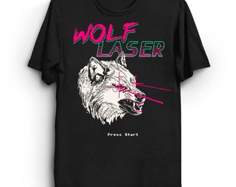 Wolf Laser T-Shirt - Cool Tee Shirt Awesome 80s Wolf Wolves Gaming Retro Lasers