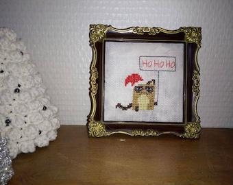 Grumpy Cat Christmas - Ho ho ho - table cross-stitch - 11, 5 x 11, 5 cm