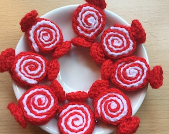 8 Spiral Sweets, Red and White Sweets, Hand Crocheted Sweets, Christmas Sweets, Play Food, Retro Sweets, Handmade Sweets, Sugar Free, Gift