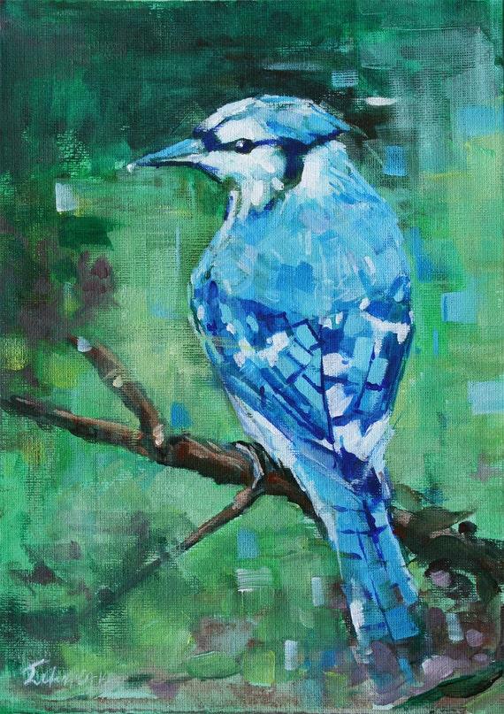 Small original bird painting Home decor Acrylic painting
